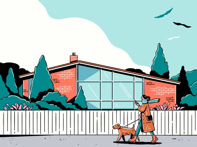 Saturday Stroll dog walking midcentury home nature art icon graphic flat simple nature design vector texture illustration