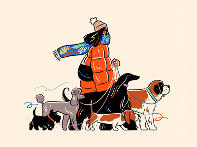 Happy International Women's Day pooch walking winter editorial illustration dogs icon people graphic flat simple nature design vector illustration