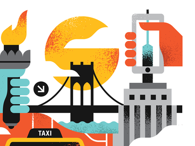 NYC taxi sun empirestatebuilding newyork texture illustration vector design brooklynbridge statueofliberty