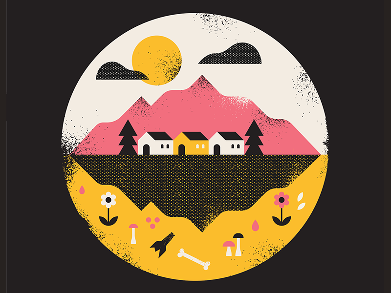 Three's a crowd vector graphic wilderness nature home mountain texture illustration