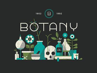 Botany vintage deco type nature plants flowers logo illustration texture vector botany