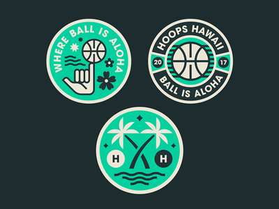 HH Brand Assets basketball waves vector design badge palms graphic hand hawaii logo