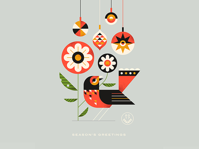 Season's Greetings christmas season greetings bird flowers baubles decoration type vector texture illustration
