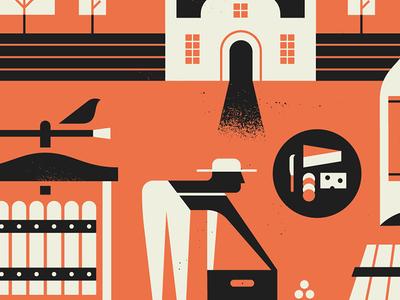 Winelands town cape farm texture vector design illustration vineyard