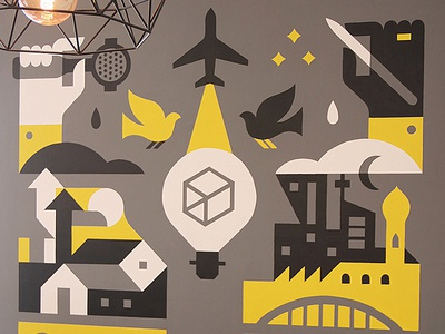 BigBox X Skyline Coffee Mural handpainted illustration design idea bulb building plane hand mural