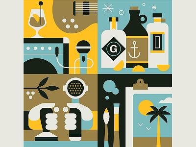 First Thursday Poster Graphic clean brush amp guitar bottle design art coffee music gin illustration poster