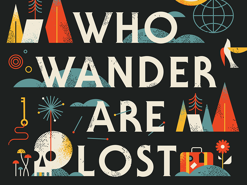Not All Who Wander flat typography nature skull travel texture quote illustration icon type