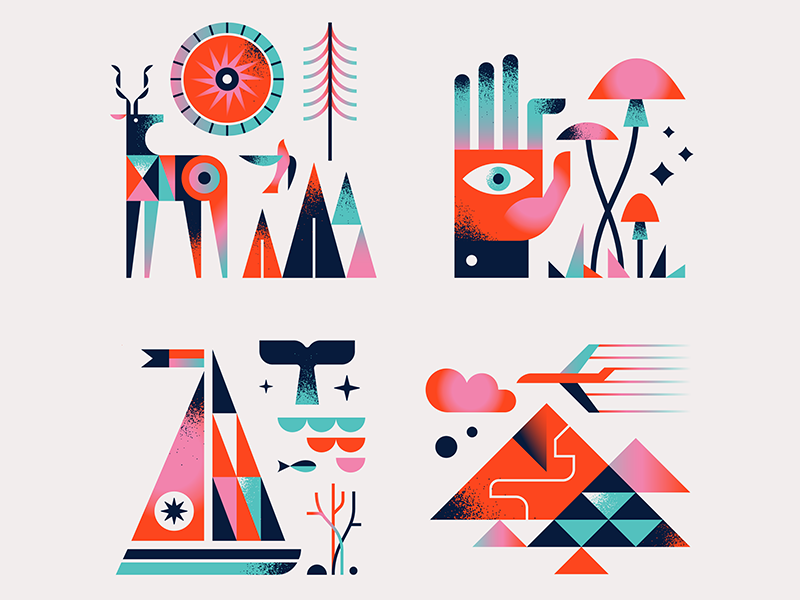 Habitat Icons wild texture simple nature mushroom mountains illustration iconography icon hand flat deer