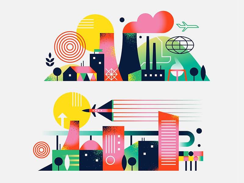 Landscapes technology space travel buildings texture simple nature illustration iconography icon flat