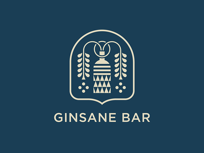 Ginsane symbol graphic african plant bottle mark branding gin vector flat icon logo