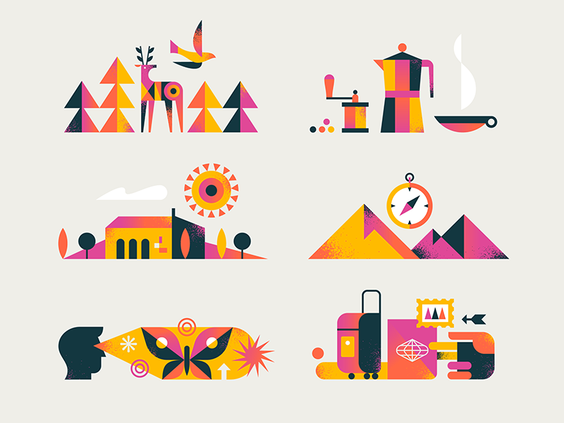 Travel butterfly mountains sun house deer coffee travel hand iconography flat simple icon bird nature design texture vector illustration