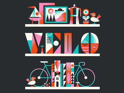 Velo Shelves iconography gradient icon bookshelf vibrant colour gradient shelves decor cycling bike velo typography simple nature vector illustration