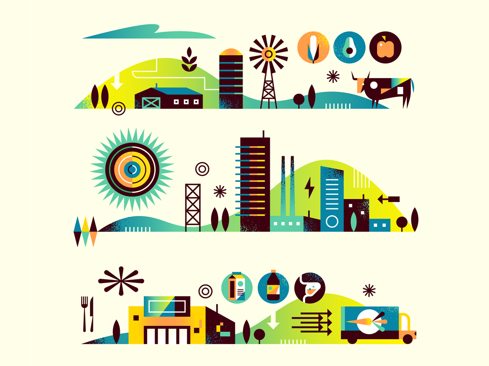 Food Scenes sketch process city building food farm icon landscape iconography flat graphic simple nature design texture vector illustration