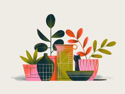 Psh Psh Psh plants cat graphic art flat graphic simple nature design texture vector illustration