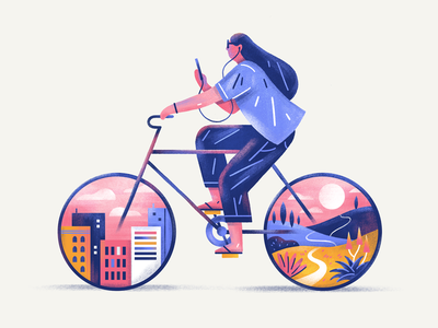 Hustle & Happiness escape cycling iphone digital person city bike graphic flat simple nature design texture vector illustration