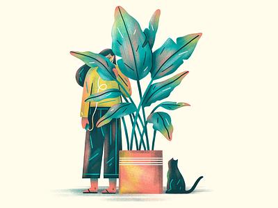 Sneak Peek plant logo girl gang cat flat simple nature texture design vector illustration