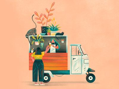 Tuk Tuk people cat plants tuktuk icecream durban graphic flat simple nature design texture vector illustration