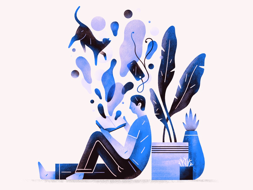 Less Distractions organic people person article technology cat plants editorialillustration editorial graphic flat simple nature design texture illustration