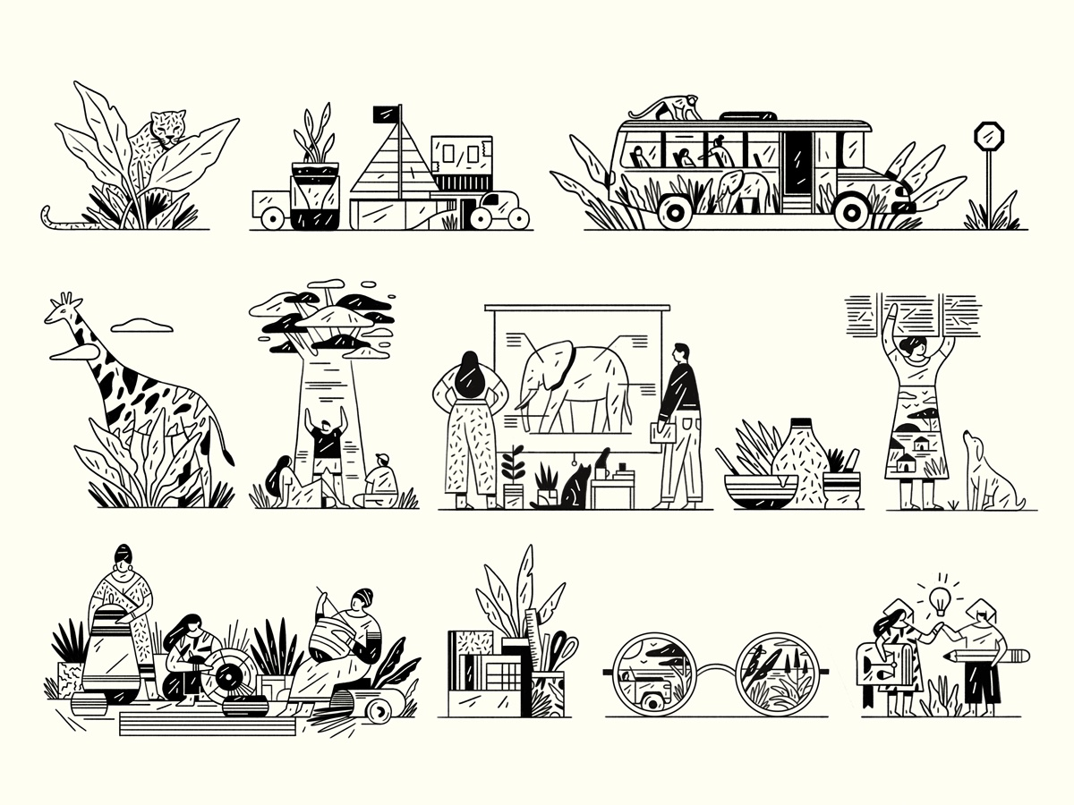 Natural Selection Spots africa safari black editorial editorial illustration graphic flat simple nature design illustration