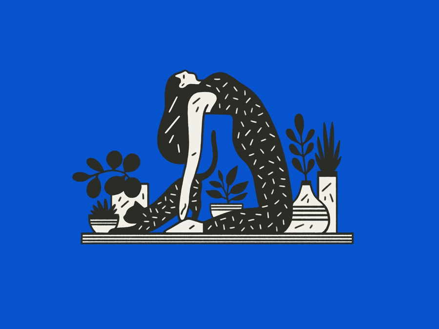 Yoga Graphic figure plants cat yoga logo graphic flat simple nature design illustration