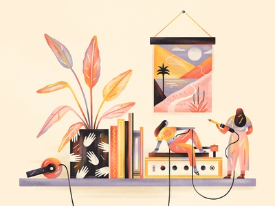 Unwind then Rewind people plants music editorial design editorial illustration flat simple nature design texture illustration