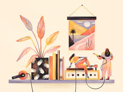 Unwind then Rewind people plants music editorial design editorial illustration flat simple nature design texture illustration