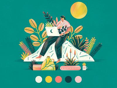 Freelancer editorial illustration laptop planters color palette plants graphic flat simple nature design vector texture illustration