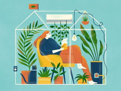 Home Efficiency editorial design home plants graphic flat simple nature design texture illustration