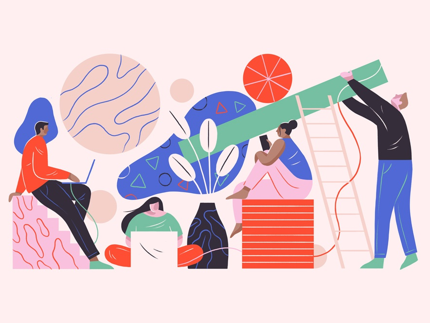 Friday Shapes nature editorial layout editorial illustration geometric people graphic flat simple design vector texture illustration