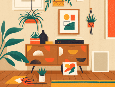Mid-century Inspired 🌿 editorial illustration furniture room vintage mid-century modern mid-century flat simple nature design vector texture illustration