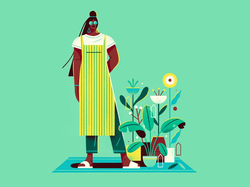 The Morning Trade character apron woman girl market flowers plants graphic flat simple nature design vector texture illustration
