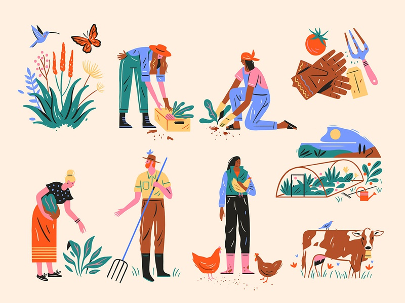 Farming Spots editorial spot illustration editorial illustration fynbos gardening cow people farming agriculture farm plants graphic flat simple nature design vector illustration