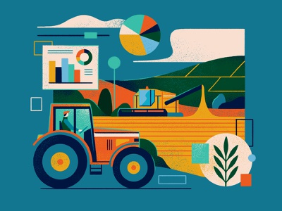 Illustrations Land & Business uk property farmland layout editorialillustration editorial farming graphic flat simple nature design vector texture illustration