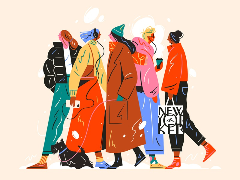 New Yorkers newyorkermag winter street fashion walking artwork editorial illustration newyorkcity newyork coffee people graphic flat simple nature design vector illustration
