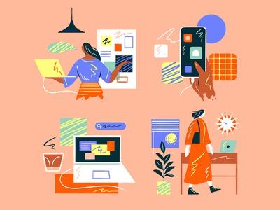 Spot Illustration phone tech editorial illustration people pattern nature graphic flat simple design texture vector illustration