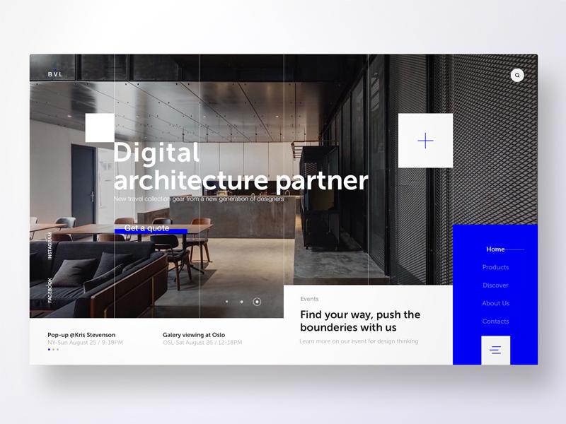 BLV - Architecture Studio landing page blue studio architect header adobe xd invision krsdesign ui ux