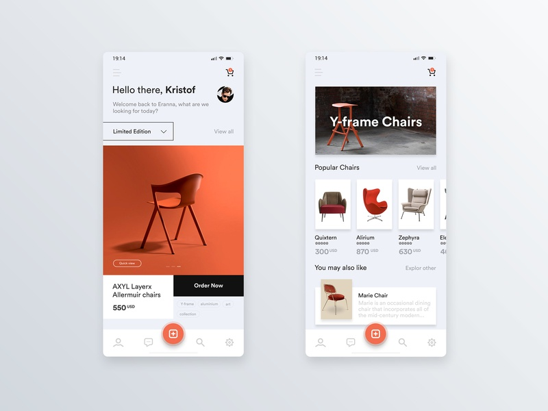 Mobile application for designer chairs 🛋 user center design uidesign mobile app mobile app design interface adobe xd krsdesign digital krs ux ui