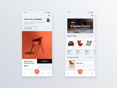 Mobile application for designer chairs 🛋 user center design uidesign mobile app mobile app design interface adobe xd krsdesign digital krs ux ui