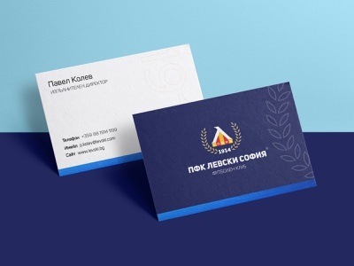 🔵 Levski Sofia - business cards sport branding sport blue busines card print football club football vector typography branding illustration logo design krsdesign krs