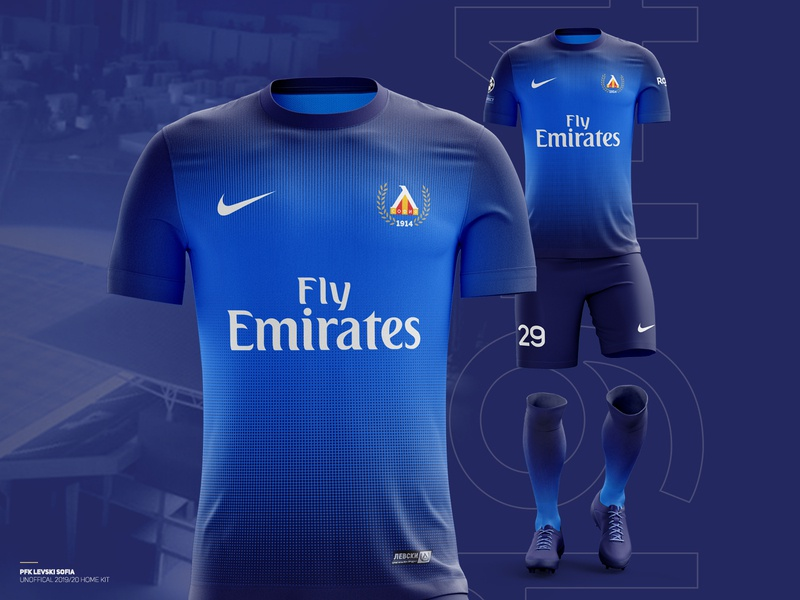 ️⚽️ Levski Sofia 2019/20 home kit gradient logo nike sport club krsdesign t-shirt design blue kit sport branding branding football club football levski illustration krs