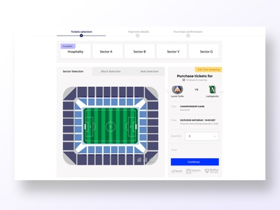Seat selection for ticketing system funnel material ui breadcrumb stadium blue levski football club football sports design seats checkout uidesign adobe xd krsdesign krs ux ui
