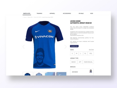 E-commerce product page product page e-commerce design t-shirt design levski sofia levski sports design football club football sport responsive blue user center design uidesign adobe xd digital krsdesign krs ux ui