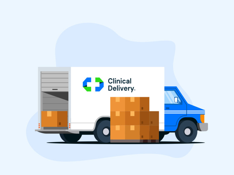 Clinical Delivery™ | Truck illustration lockup combination mark seal visual identity typography art vector illustration photoshop branding brand design logo mark mark logo design