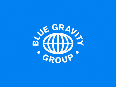 Blue Gravity Group | Logo Seal agency consulting logo global blue globe circle lockup seal stamp logo mark visual identity brand illustration vector logo branding mark photoshop design logo design