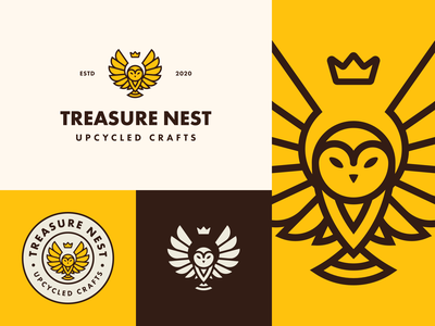 Treasure Nest | Upcycled Crafts lockup logo mark visual identity brand illustration vector logo branding mark photoshop design logo design