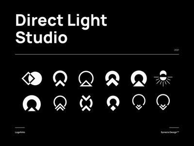Direct Light Studio | Logo exploration lockup combination mark seal visual identity typography art vector illustration photoshop branding brand design logo mark mark logo design