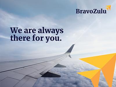 BravoZulu | Marketing private airline brand media billboard lockup logo marketing illustration vector branding mark photoshop design logo design