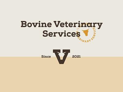Bovine Veterinary Services typography seal brand graphic design bovine combination mark logotype ui ux logo illustration vector branding mark photoshop design logo design lockup