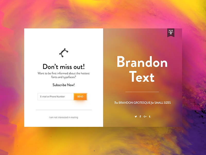 ✒️ Brandon Text Font   Subscribe UI vector share submit ux typography type text font brandon subscription subscribe ui