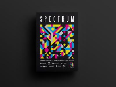 🎨 Spectrum poster 🎨 yellow cyan magenta color bars colors spectrum sponsors logo polarix marketing promo printing print cmyk geometric geometry polygons poster
